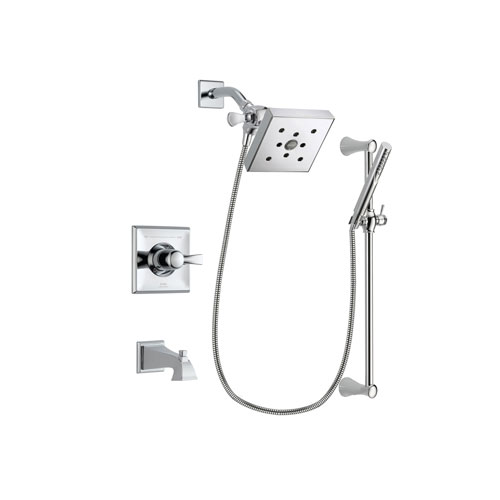 Delta Dryden Chrome Finish Tub and Shower Faucet System Package with Square Shower Head and Modern Wall Mount Slide Bar with Handheld Shower Spray Includes Rough-in Valve and Tub Spout DSP0279V