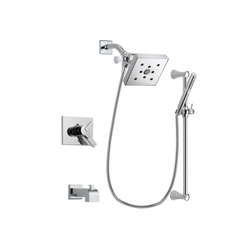 Delta Vero Chrome Finish Dual Control Tub and Shower Faucet System Package with Square Shower Head and Modern Wall Mount Slide Bar with Handheld Shower Spray Includes Rough-in Valve and Tub Spout DSP0287V