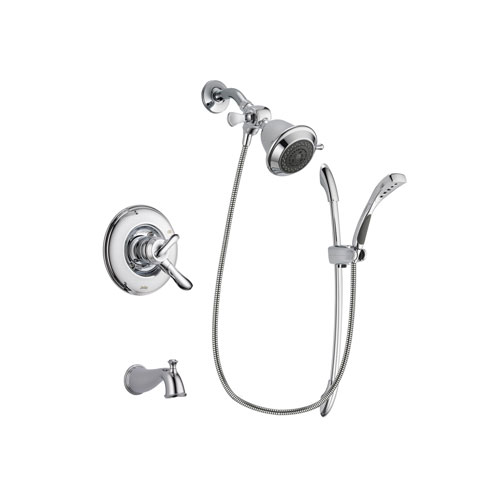 Delta Linden Chrome Finish Dual Control Tub and Shower Faucet System Package with Shower Head and Handheld Shower with Slide Bar Includes Rough-in Valve and Tub Spout DSP0455V