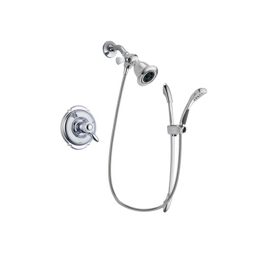 Delta Victorian Chrome Finish Thermostatic Shower Faucet System Package with Water Efficient Showerhead and Handheld Shower with Slide Bar Includes Rough-in Valve DSP0462V