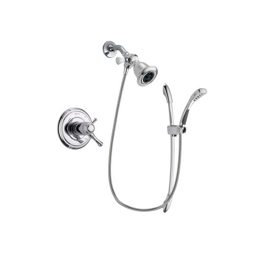Delta Cassidy Chrome Finish Thermostatic Shower Faucet System Package with Water Efficient Showerhead and Handheld Shower with Slide Bar Includes Rough-in Valve DSP0468V