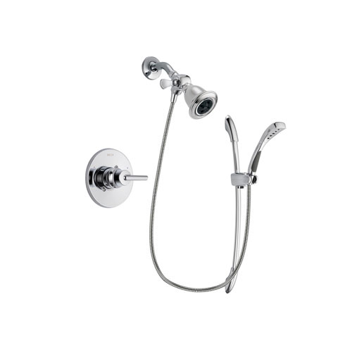 Delta Trinsic Chrome Finish Shower Faucet System Package with Water Efficient Showerhead and Handheld Shower with Slide Bar Includes Rough-in Valve DSP0472V