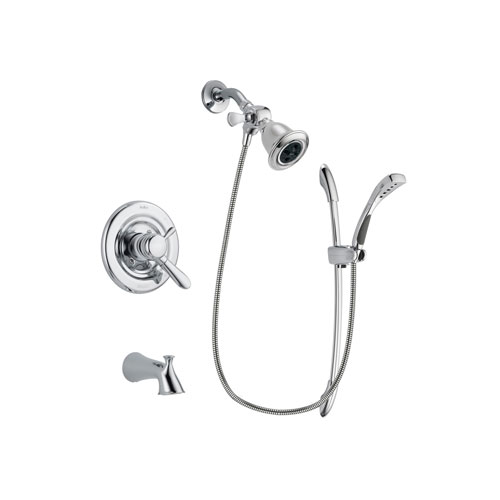 Delta Lahara Chrome Finish Dual Control Tub and Shower Faucet System Package with Water Efficient Showerhead and Handheld Shower with Slide Bar Includes Rough-in Valve and Tub Spout DSP0479V