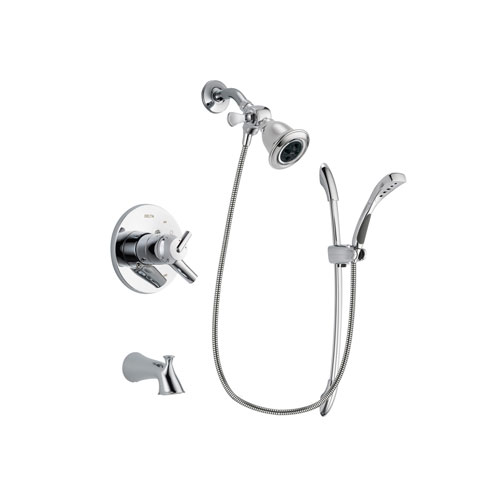 Delta Trinsic Chrome Finish Dual Control Tub and Shower Faucet System Package with Water Efficient Showerhead and Handheld Shower with Slide Bar Includes Rough-in Valve and Tub Spout DSP0481V