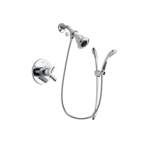 Delta Trinsic Chrome Finish Dual Control Shower Faucet System Package with Water Efficient Showerhead and Handheld Shower with Slide Bar Includes Rough-in Valve DSP0482V