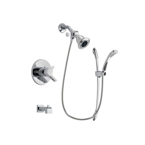 Delta Compel Chrome Finish Dual Control Tub and Shower Faucet System Package with Water Efficient Showerhead and Handheld Shower with Slide Bar Includes Rough-in Valve and Tub Spout DSP0483V