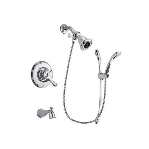Delta Linden Chrome Finish Dual Control Tub and Shower Faucet System Package with Water Efficient Showerhead and Handheld Shower with Slide Bar Includes Rough-in Valve and Tub Spout DSP0489V