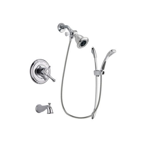 Delta Cassidy Chrome Finish Dual Control Tub and Shower Faucet System Package with Water Efficient Showerhead and Handheld Shower with Slide Bar Includes Rough-in Valve and Tub Spout DSP0491V