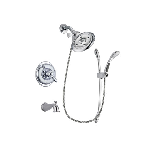 Delta Victorian Chrome Finish Thermostatic Tub and Shower Faucet System Package with Large Rain Showerhead and Handheld Shower with Slide Bar Includes Rough-in Valve and Tub Spout DSP0495V