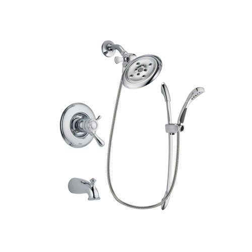 Delta Leland Chrome Finish Thermostatic Tub and Shower Faucet System Package with Large Rain Showerhead and Handheld Shower with Slide Bar Includes Rough-in Valve and Tub Spout DSP0497V