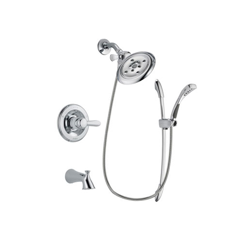 Delta Lahara Chrome Finish Tub and Shower Faucet System Package with Large Rain Showerhead and Handheld Shower with Slide Bar Includes Rough-in Valve and Tub Spout DSP0503V