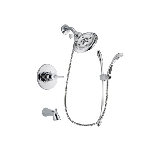 Delta Trinsic Chrome Finish Tub and Shower Faucet System Package with Large Rain Showerhead and Handheld Shower with Slide Bar Includes Rough-in Valve and Tub Spout DSP0505V