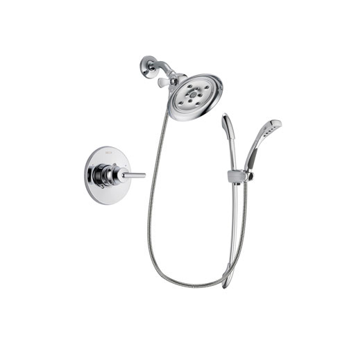 Delta Trinsic Chrome Finish Shower Faucet System Package with Large Rain Showerhead and Handheld Shower with Slide Bar Includes Rough-in Valve DSP0506V