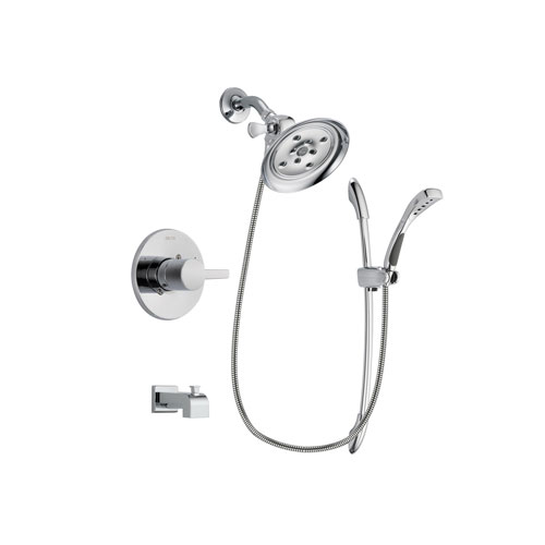 Delta Compel Chrome Finish Tub and Shower Faucet System Package with Large Rain Showerhead and Handheld Shower with Slide Bar Includes Rough-in Valve and Tub Spout DSP0507V