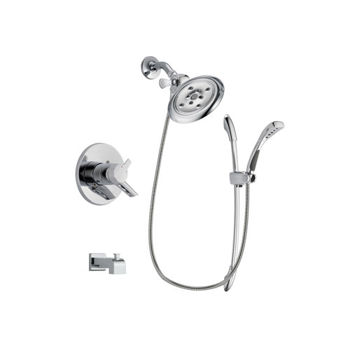 Delta Compel Chrome Finish Dual Control Tub and Shower Faucet System Package with Large Rain Showerhead and Handheld Shower with Slide Bar Includes Rough-in Valve and Tub Spout DSP0517V