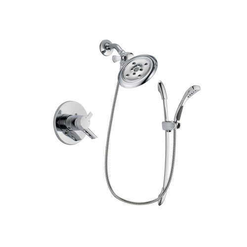 Delta Compel Chrome Finish Dual Control Shower Faucet System Package with Large Rain Showerhead and Handheld Shower with Slide Bar Includes Rough-in Valve DSP0518V