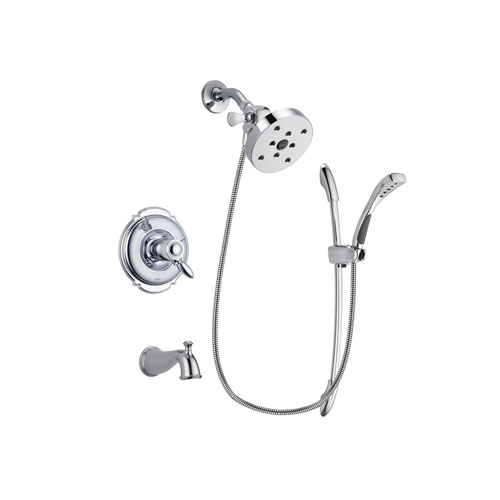 Delta Victorian Chrome Finish Thermostatic Tub and Shower Faucet System Package with 5-1/2 inch Shower Head and Handheld Shower with Slide Bar Includes Rough-in Valve and Tub Spout DSP0529V