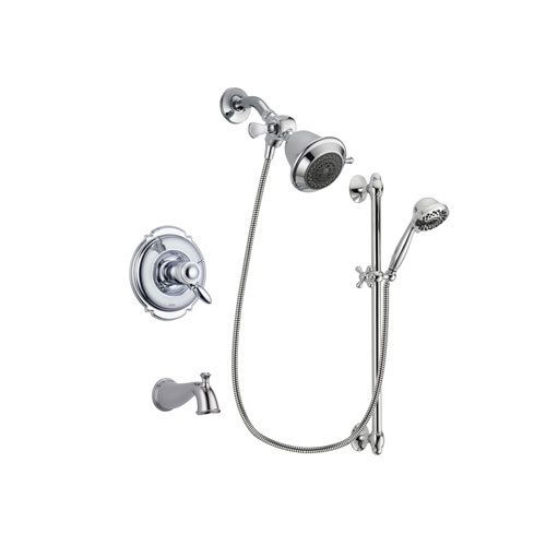 Delta Victorian Chrome Finish Thermostatic Tub and Shower Faucet System Package with Shower Head and 7-Spray Handheld Shower Sprayer with Slide Bar Includes Rough-in Valve and Tub Spout DSP0563V