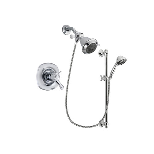 Delta Addison Chrome Finish Thermostatic Shower Faucet System Package with Shower Head and 7-Spray Handheld Shower Sprayer with Slide Bar Includes Rough-in Valve DSP0568V