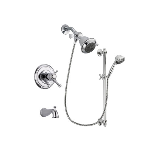 Delta Cassidy Chrome Finish Thermostatic Tub and Shower Faucet System Package with Shower Head and 7-Spray Handheld Shower Sprayer with Slide Bar Includes Rough-in Valve and Tub Spout DSP0569V