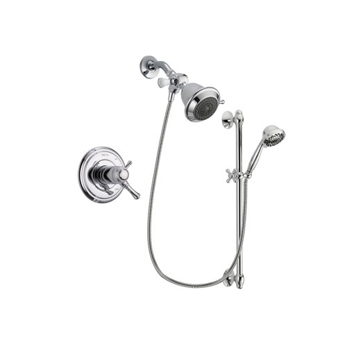 Delta Cassidy Chrome Finish Thermostatic Shower Faucet System Package with Shower Head and 7-Spray Handheld Shower Sprayer with Slide Bar Includes Rough-in Valve DSP0570V