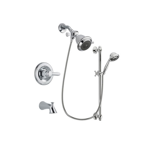 Delta Lahara Chrome Finish Tub and Shower Faucet System Package with Shower Head and 7-Spray Handheld Shower Sprayer with Slide Bar Includes Rough-in Valve and Tub Spout DSP0571V