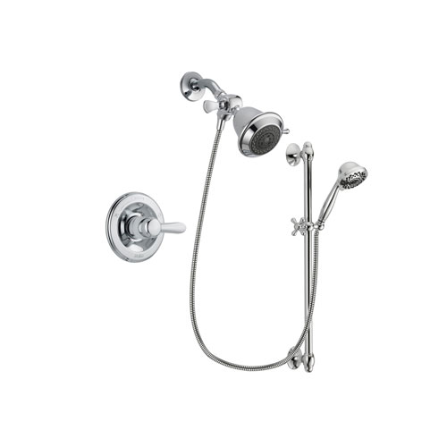 Delta Lahara Chrome Finish Shower Faucet System Package with Shower Head and 7-Spray Handheld Shower Sprayer with Slide Bar Includes Rough-in Valve DSP0572V