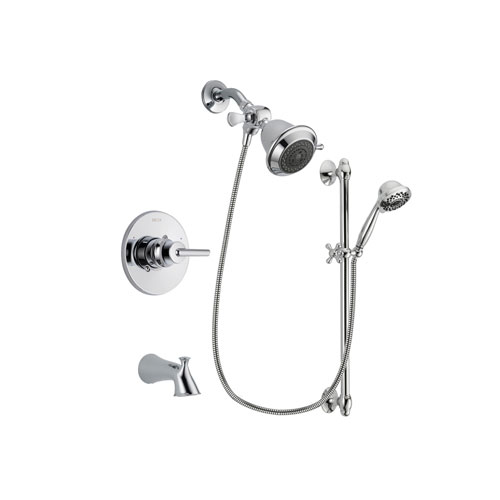 Delta Trinsic Chrome Finish Tub and Shower Faucet System Package with Shower Head and 7-Spray Handheld Shower Sprayer with Slide Bar Includes Rough-in Valve and Tub Spout DSP0573V