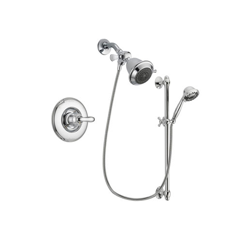 Delta Linden Chrome Finish Shower Faucet System Package with Shower Head and 7-Spray Handheld Shower Sprayer with Slide Bar Includes Rough-in Valve DSP0580V