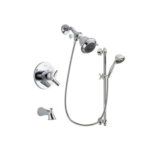 Delta Trinsic Chrome Finish Dual Control Tub and Shower Faucet System Package with Shower Head and 7-Spray Handheld Shower Sprayer with Slide Bar Includes Rough-in Valve and Tub Spout DSP0583V
