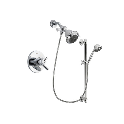 Delta Trinsic Chrome Finish Dual Control Shower Faucet System Package with Shower Head and 7-Spray Handheld Shower Sprayer with Slide Bar Includes Rough-in Valve DSP0584V
