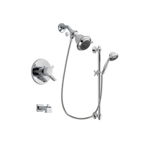 Delta Compel Chrome Finish Dual Control Tub and Shower Faucet System Package with Shower Head and 7-Spray Handheld Shower Sprayer with Slide Bar Includes Rough-in Valve and Tub Spout DSP0585V