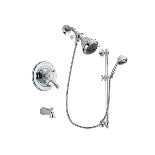 Delta Leland Chrome Finish Dual Control Tub and Shower Faucet System Package with Shower Head and 7-Spray Handheld Shower Sprayer with Slide Bar Includes Rough-in Valve and Tub Spout DSP0587V