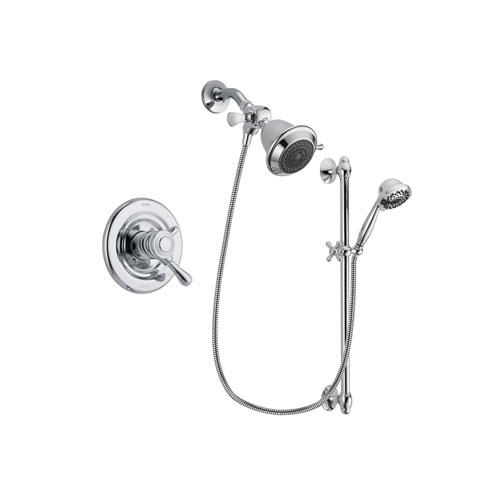 Delta Leland Chrome Finish Dual Control Shower Faucet System Package with Shower Head and 7-Spray Handheld Shower Sprayer with Slide Bar Includes Rough-in Valve DSP0588V