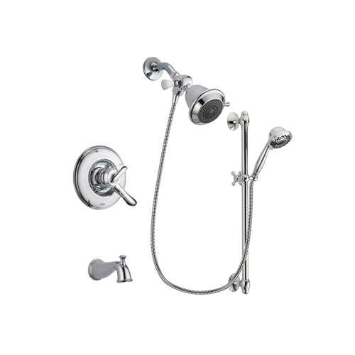 Delta Linden Chrome Finish Dual Control Tub and Shower Faucet System Package with Shower Head and 7-Spray Handheld Shower Sprayer with Slide Bar Includes Rough-in Valve and Tub Spout DSP0591V