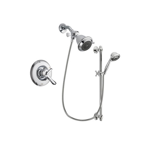 Delta Linden Chrome Finish Dual Control Shower Faucet System Package with Shower Head and 7-Spray Handheld Shower Sprayer with Slide Bar Includes Rough-in Valve DSP0592V