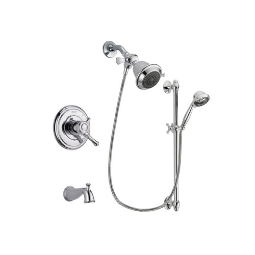 Delta Cassidy Chrome Finish Dual Control Tub and Shower Faucet System Package with Shower Head and 7-Spray Handheld Shower Sprayer with Slide Bar Includes Rough-in Valve and Tub Spout DSP0593V