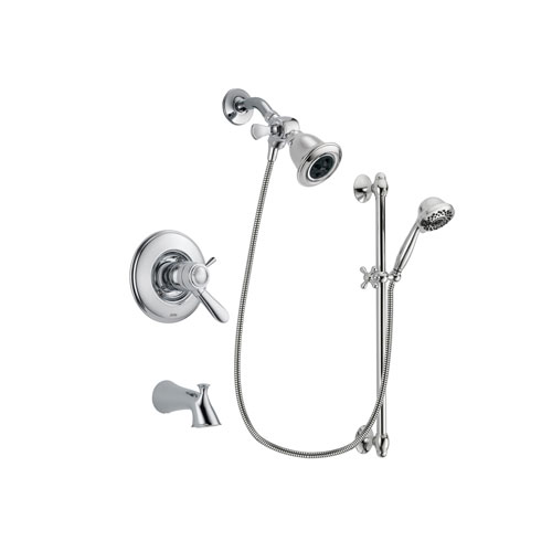 Delta Lahara Chrome Finish Thermostatic Tub and Shower Faucet System Package with Water Efficient Showerhead and 7-Spray Handheld Shower Sprayer with Slide Bar Includes Rough-in Valve and Tub Spout DSP0595V