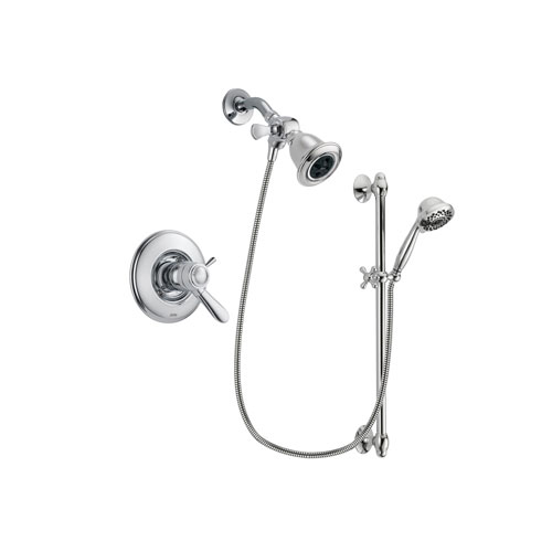 Delta Lahara Chrome Finish Thermostatic Shower Faucet System Package with Water Efficient Showerhead and 7-Spray Handheld Shower Sprayer with Slide Bar Includes Rough-in Valve DSP0596V