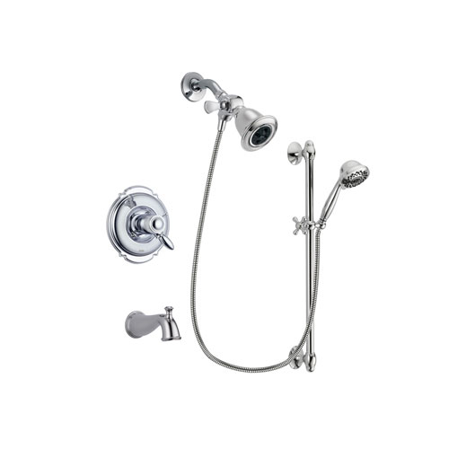 Delta Victorian Chrome Finish Thermostatic Tub and Shower Faucet System Package with Water Efficient Showerhead and 7-Spray Handheld Shower Sprayer with Slide Bar Includes Rough-in Valve and Tub Spout DSP0597V