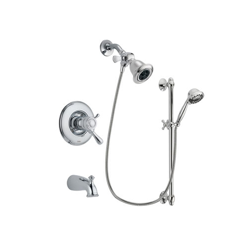 Delta Leland Chrome Finish Thermostatic Tub and Shower Faucet System Package with Water Efficient Showerhead and 7-Spray Handheld Shower Sprayer with Slide Bar Includes Rough-in Valve and Tub Spout DSP0599V