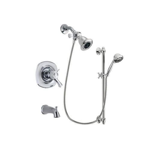 Delta Addison Chrome Finish Thermostatic Tub and Shower Faucet System Package with Water Efficient Showerhead and 7-Spray Handheld Shower Sprayer with Slide Bar Includes Rough-in Valve and Tub Spout DSP0601V