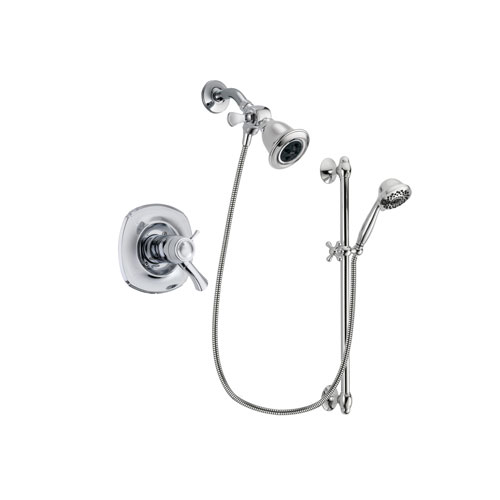 Delta Addison Chrome Finish Thermostatic Shower Faucet System Package with Water Efficient Showerhead and 7-Spray Handheld Shower Sprayer with Slide Bar Includes Rough-in Valve DSP0602V