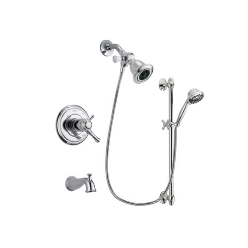 Delta Cassidy Chrome Finish Thermostatic Tub and Shower Faucet System Package with Water Efficient Showerhead and 7-Spray Handheld Shower Sprayer with Slide Bar Includes Rough-in Valve and Tub Spout DSP0603V