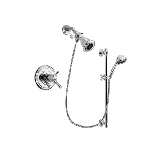 Delta Cassidy Chrome Finish Thermostatic Shower Faucet System Package with Water Efficient Showerhead and 7-Spray Handheld Shower Sprayer with Slide Bar Includes Rough-in Valve DSP0604V