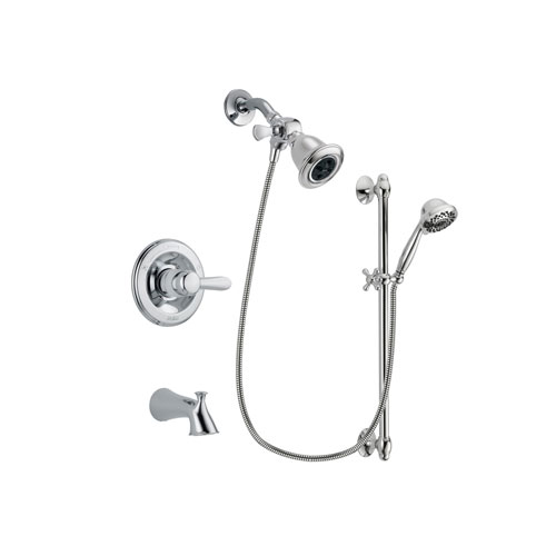 Delta Lahara Chrome Finish Tub and Shower Faucet System Package with Water Efficient Showerhead and 7-Spray Handheld Shower Sprayer with Slide Bar Includes Rough-in Valve and Tub Spout DSP0605V