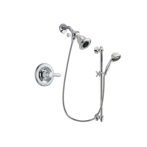Delta Lahara Chrome Finish Shower Faucet System Package with Water Efficient Showerhead and 7-Spray Handheld Shower Sprayer with Slide Bar Includes Rough-in Valve DSP0606V