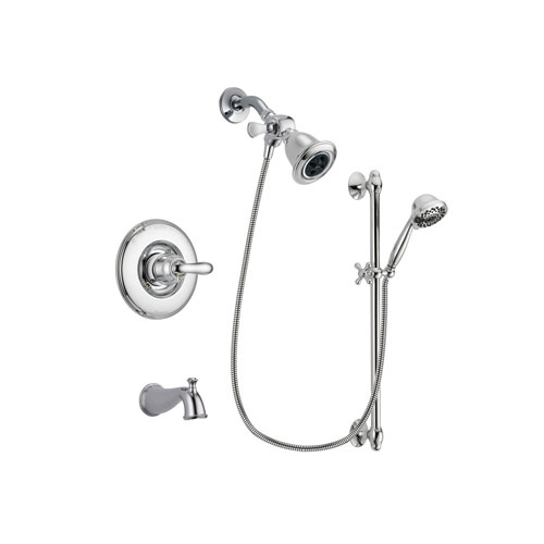 Delta Linden Chrome Finish Tub and Shower Faucet System Package with Water Efficient Showerhead and 7-Spray Handheld Shower Sprayer with Slide Bar Includes Rough-in Valve and Tub Spout DSP0613V