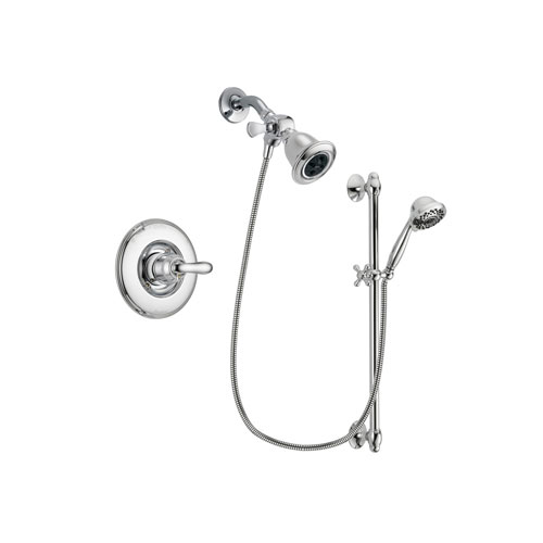 Delta Linden Chrome Finish Shower Faucet System Package with Water Efficient Showerhead and 7-Spray Handheld Shower Sprayer with Slide Bar Includes Rough-in Valve DSP0614V