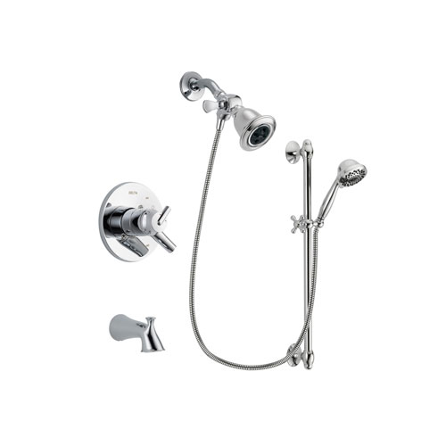 Delta Trinsic Chrome Finish Dual Control Tub and Shower Faucet System Package with Water Efficient Showerhead and 7-Spray Handheld Shower Sprayer with Slide Bar Includes Rough-in Valve and Tub Spout DSP0617V
